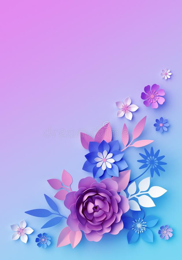 3d pink blue neon paper flowers, pastel color botanical wallpaper, isolated corner design element, clip art, greeting card royalty free illustration