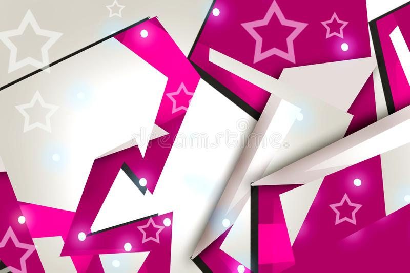 3d pink geometric shape overlap abstract background. Creative background vector illustration