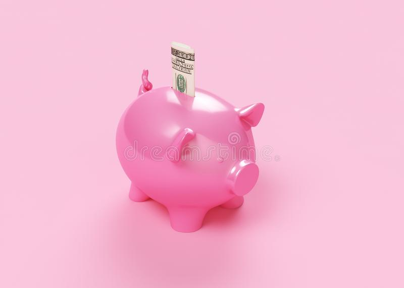 Pink Piggy Bank Isolated On White vector illustration