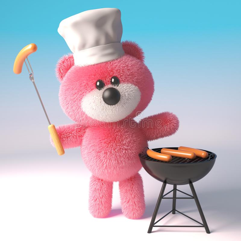 3d pink teddy bear in chefs hat cooking a barbecue bbq, 3d illustration. Render stock illustration