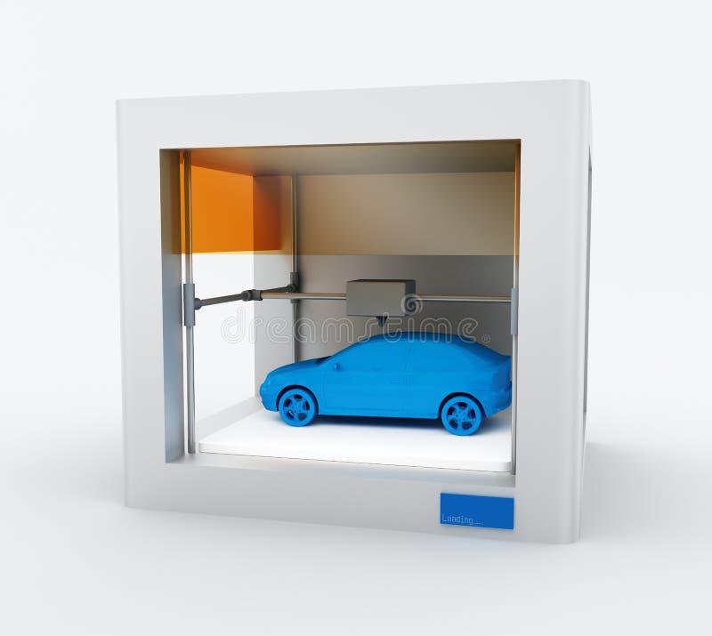3d pinter, drukauto stock illustratie
