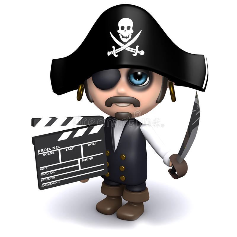 3d Pirate makes a movie. 3d render of a pirate with a clapperboard royalty free illustration