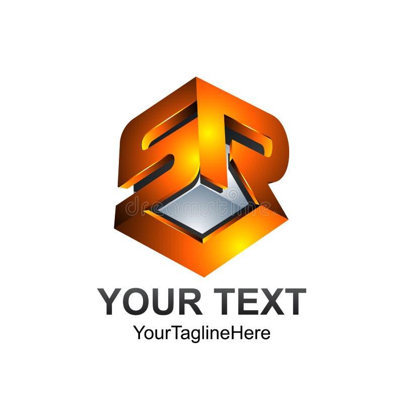 3D Piszą list SR lub SRL abecadło początkowi loga projekta szablonu elemen royalty ilustracja