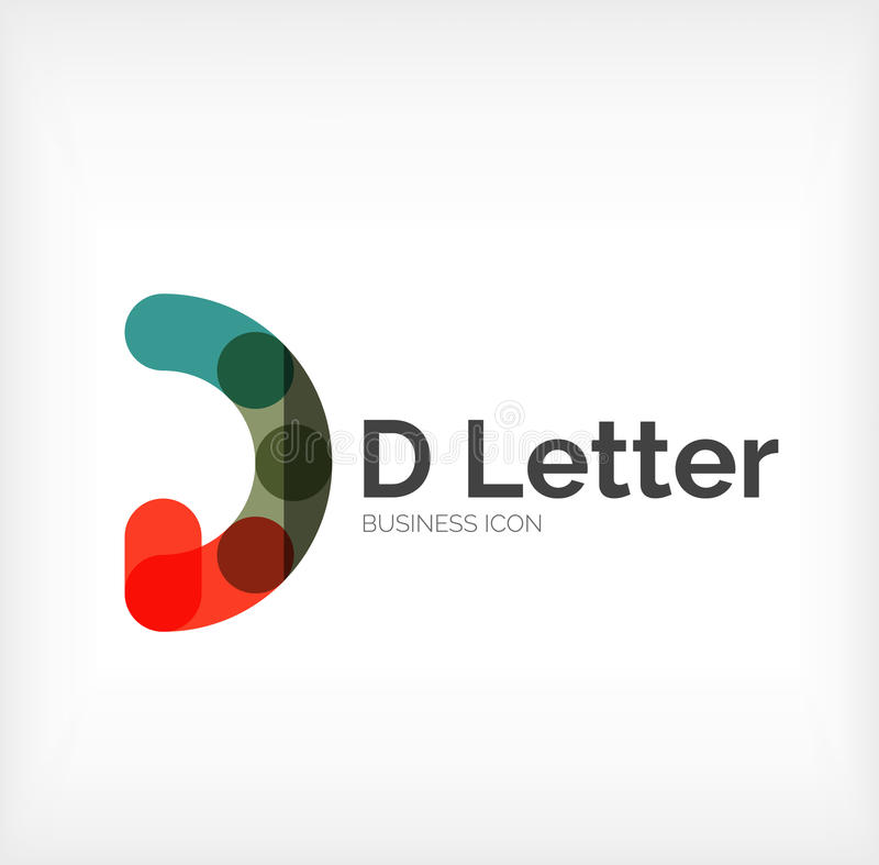 D pisze list loga, minimalny kreskowy projekt royalty ilustracja