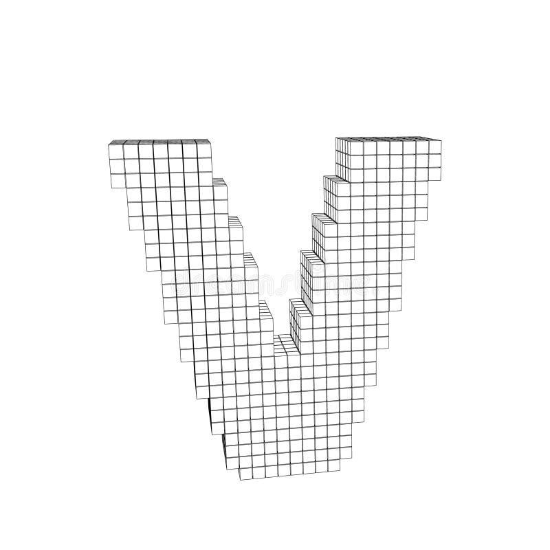 Download 3d Pixelated Capital Letter V Vector Outline Illustration Stock