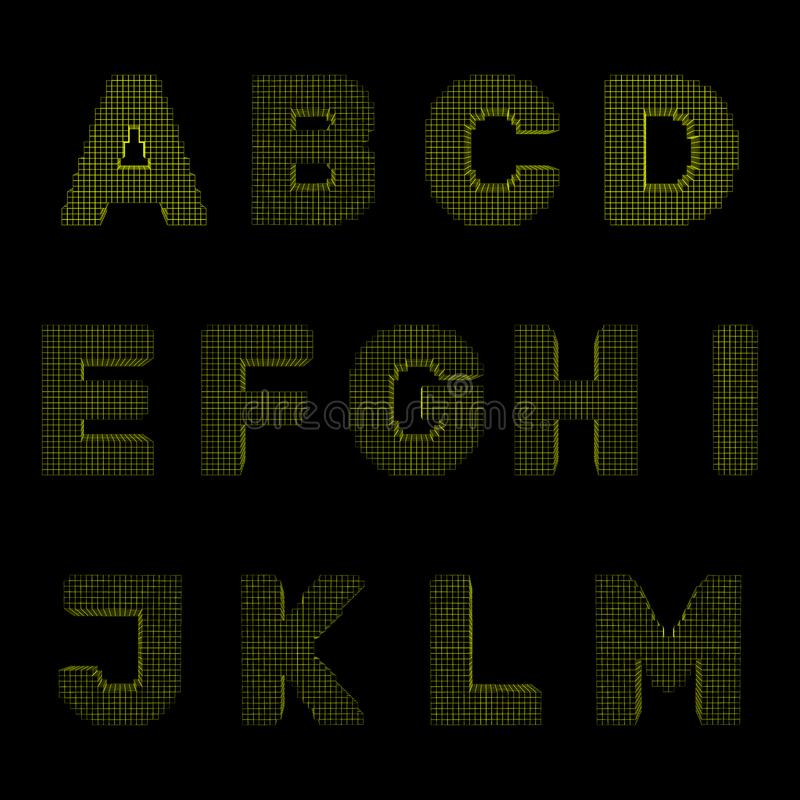 3d pixelated el sistema de la mayúscula Ejemplo del esquema del vector Fron libre illustration