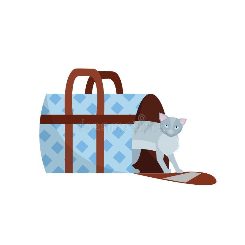 D?placement avec des animaux familiers Illustration de vecteur de chat dans une cage de sac et d'animal familier, chariot des cha illustration de vecteur