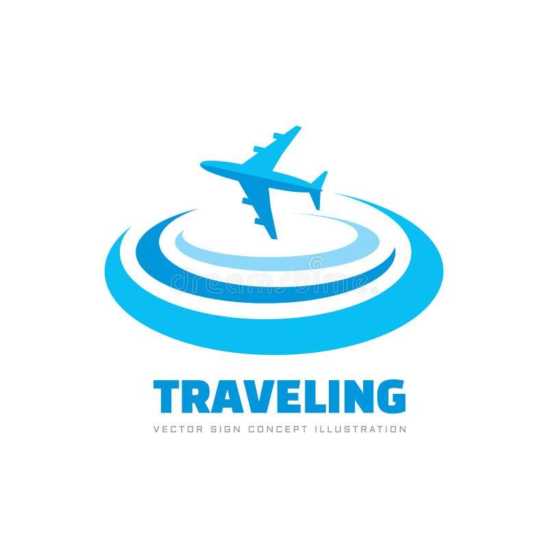 D?placement - illustration de vecteur de calibre de logo d'affaires de concept Signe cr?atif d'avion Symbole de transports a?rien illustration de vecteur