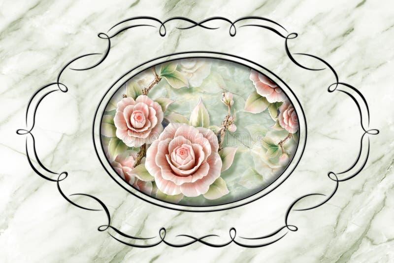 3d plafond, cadre de décor de stuc, roses en pierre au milieu sur le fond de marbre illustration libre de droits