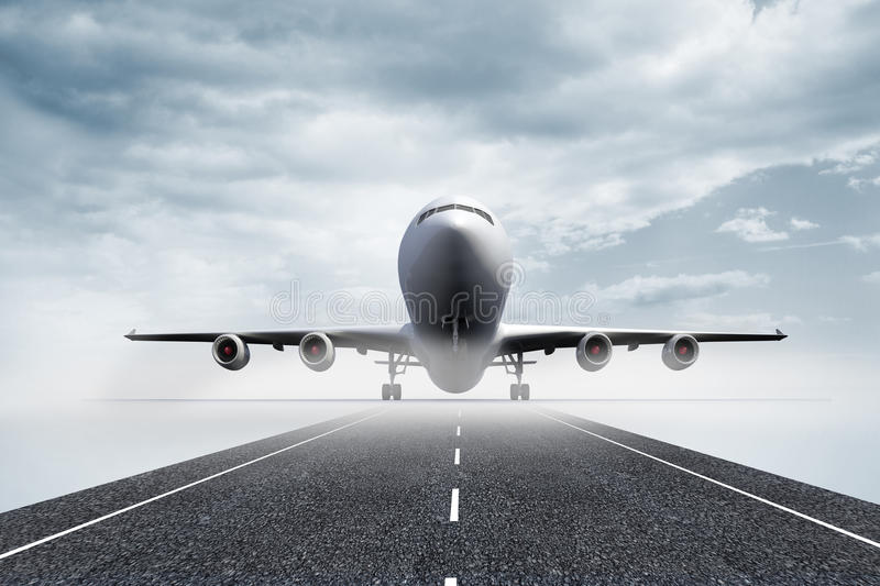 3D plane standing on runway. Kind of amazing 3D plane standing on runway vector illustration