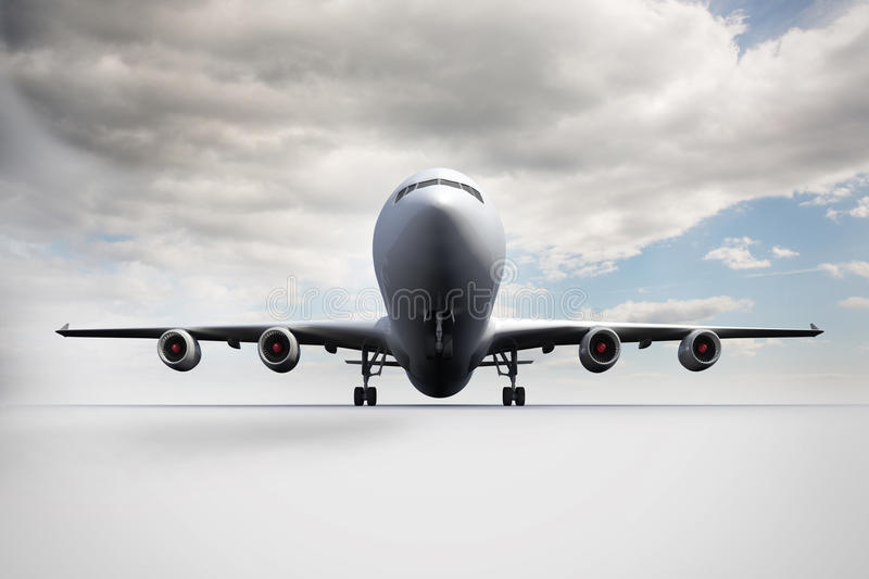 3D plane standing on white ground. Kind of amazing 3D plane standing on white ground vector illustration