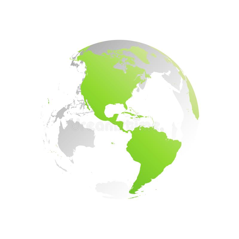 3D planet Earth globe. Transparent sphere with green land silhouettes. Focused on Americas vector illustration