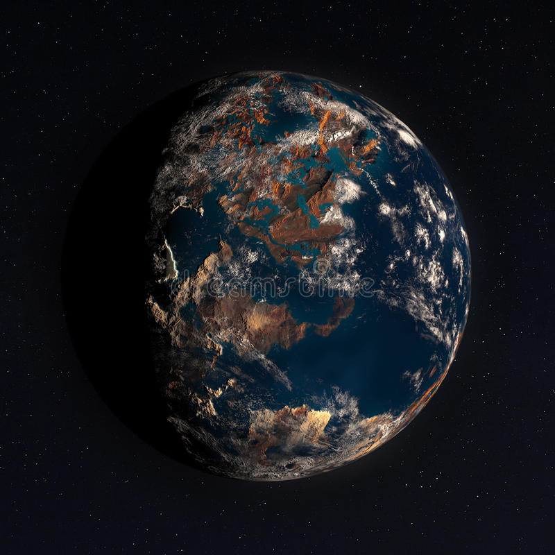 3D Planet in Space with Real Stars vector illustration