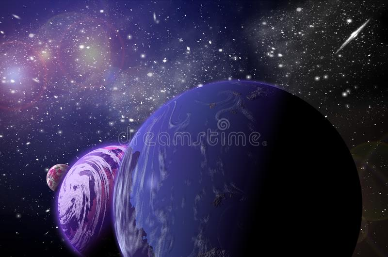 3D planeta w przestrzeni w gwiazdowym niebie b?ysk obraz stock