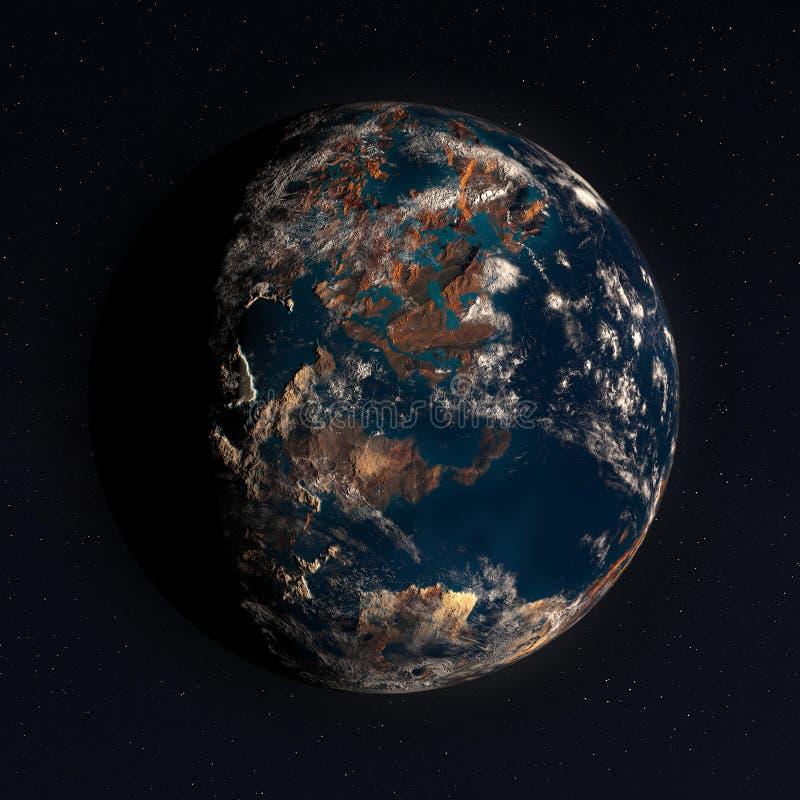 3D planeta w przestrzeni z Istnymi gwiazdami ilustracja wektor
