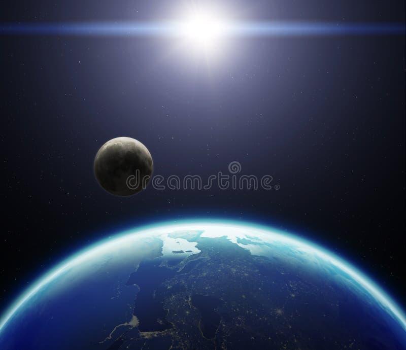 3D planety ziemia z księżyc i słońcem Elementy ten wizerunku furnis ilustracji