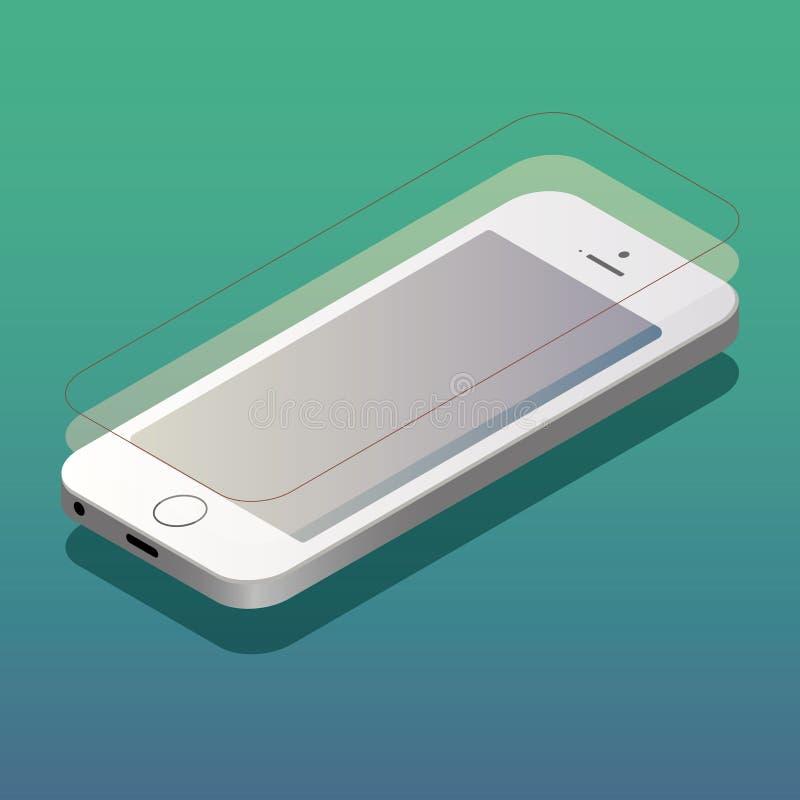 3D plano isométrico aisló los smartphones blancos del vector ilustración del vector