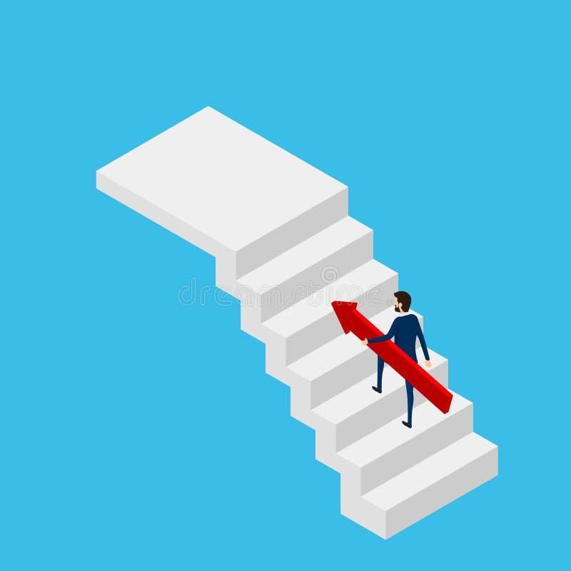 3d plano isométrico Hombre de negocios que lleva a cabo el gráfico cada vez mayor en la escalera para apuntar y el éxito Paso de  libre illustration