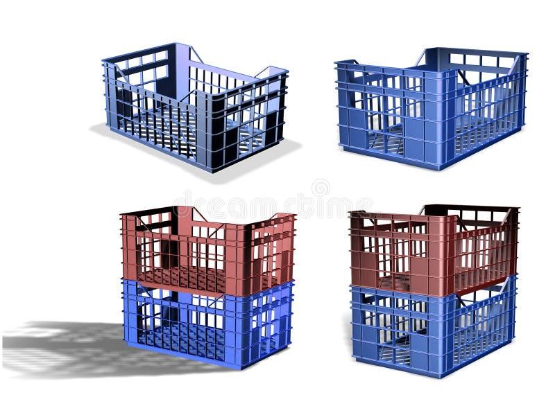 Download 3D Plastic crate stock illustration. Image of full, blue - 36249755