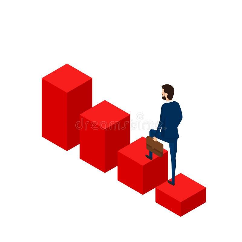 3d plat isométrique Homme d'affaires marchant sur le graphique croissant d'escalier au succès Étape d'escalier au succès illustration de vecteur
