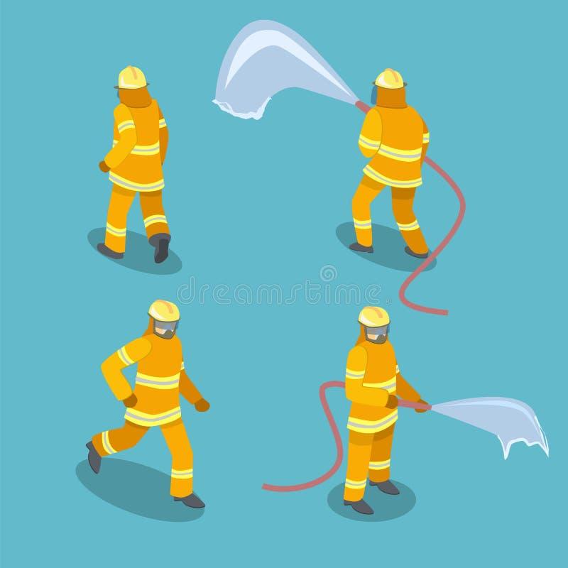 3D plat isométrique a isolé les sapeurs-pompiers coupés dans l'action illustration de vecteur