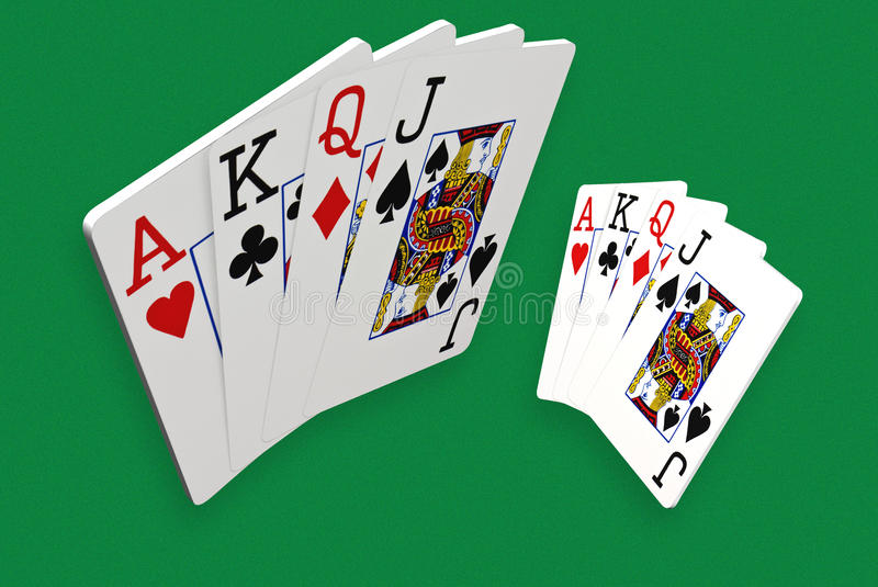 3D Playing Cards. On green grainy background vector illustration