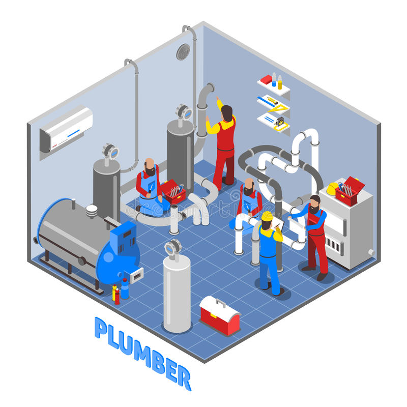 3d Plumber People Composition vector illustration