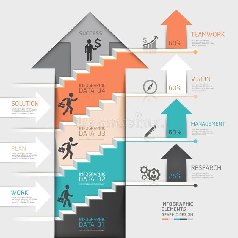 3d podchodził strzałkowatego schody diagrama biznes Vecto royalty ilustracja