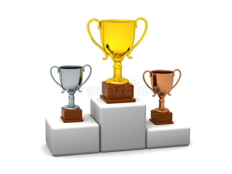 Download Podium With Trophies stock illustration. Image of third - 30276217