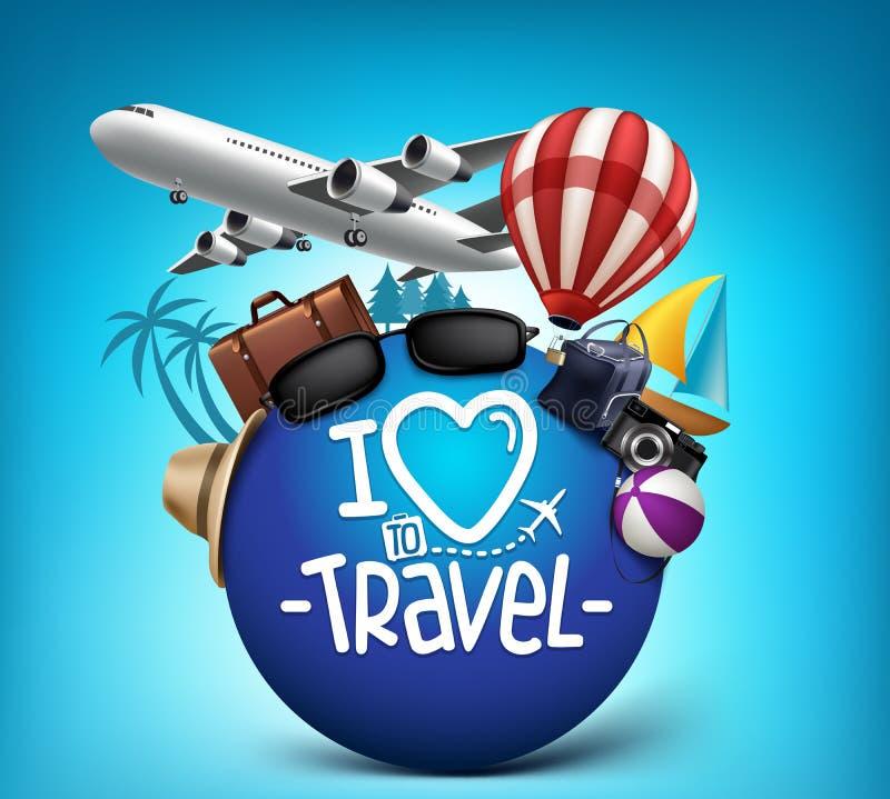 3D podróży i wycieczki turysycznej Realistyczny Plakatowy projekt Dookoła Świata ilustracja wektor