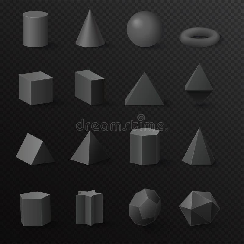 3d podstawowy wolumetryczny czarny diament kształtuje postacie ustawiać Realistyczne wektorowe praformy z cieniami ilustracja wektor