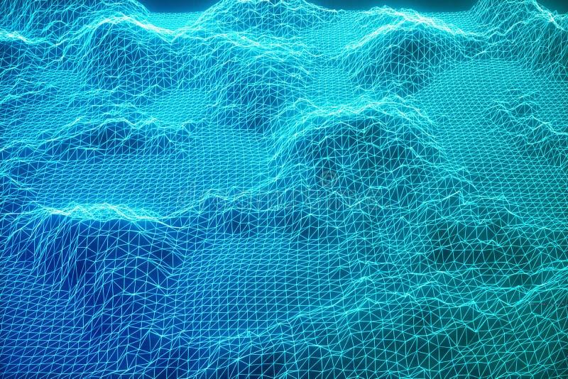 3D pojęcia ilustracyjni połączenie z internetem w obłoczny obliczać Cyberprzestrzeni krajobrazowa siatka 3d technologia niebieska royalty ilustracja