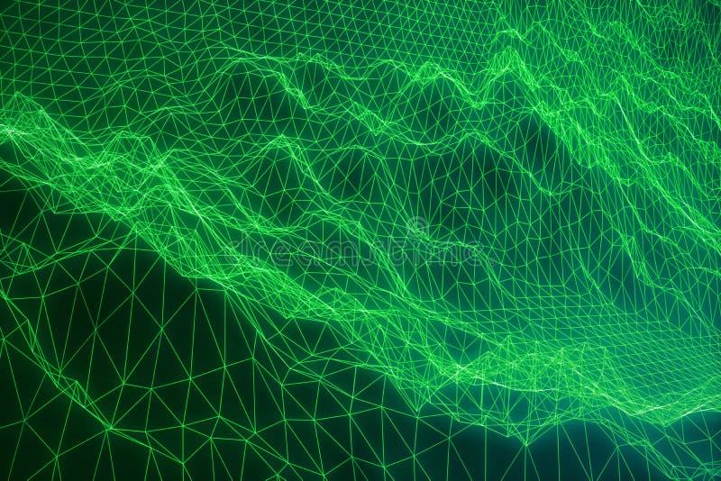 3D pojęcia ilustracyjni połączenie z internetem w obłoczny obliczać Cyberprzestrzeni krajobrazowa siatka 3d technologia Abstrakt ilustracji