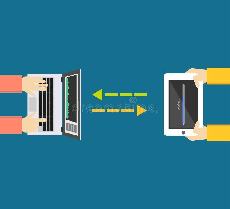 3d pojęcie dane odpłacają się przeniesienie Komunikacja między przyrządami royalty ilustracja