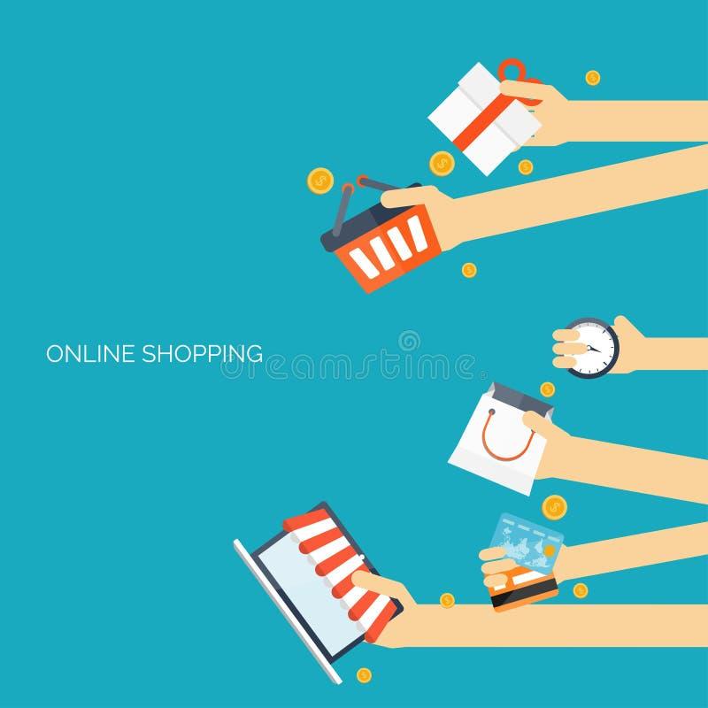 3d pojęcie internety odpłacają się zakupy handel elektroniczny Online sklep Sieci zapłaty i pieniądze na stuknięcia wynagrodzenie ilustracja wektor