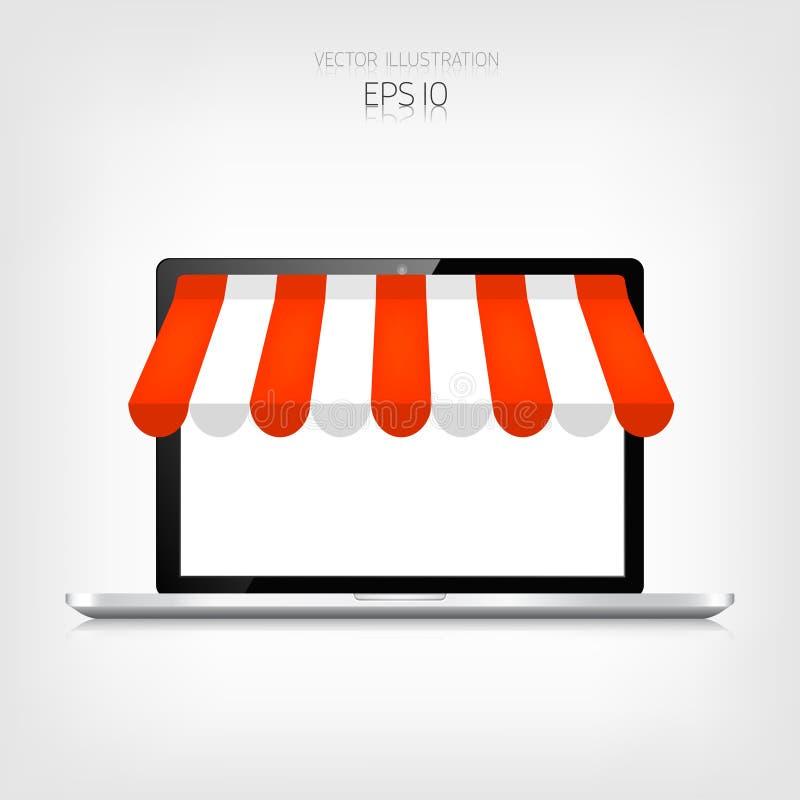 3d pojęcie internety odpłacają się zakupy laptop realistyczny handel elektroniczny Online sklep Sieci zapłaty i pieniądze na stuk royalty ilustracja