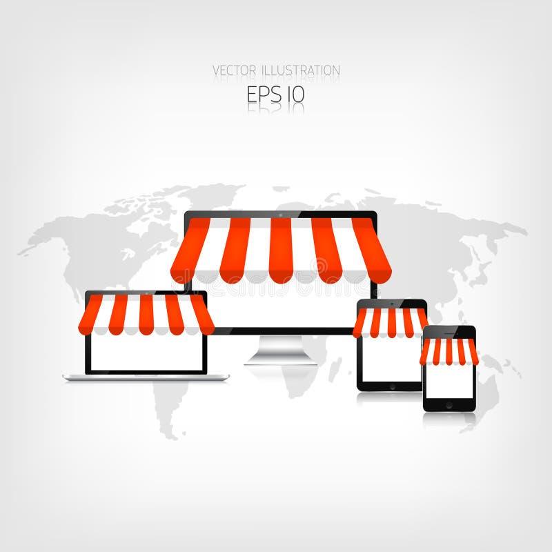 3d pojęcie internety odpłacają się zakupy Realistyczna pastylka, smartphone, laptop i monitor, handel elektroniczny Online sklep  ilustracji