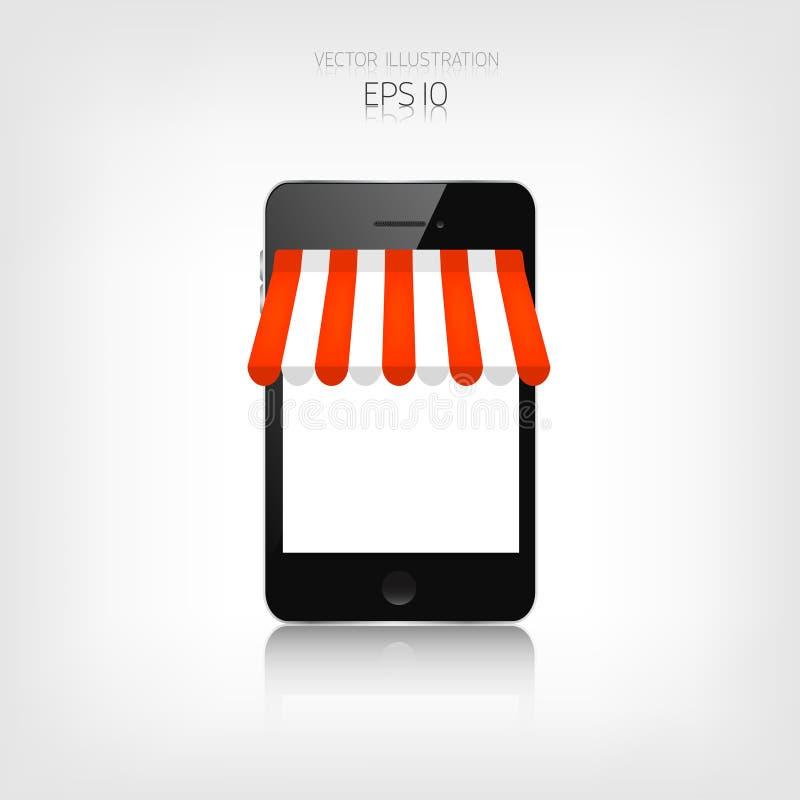 3d pojęcie internety odpłacają się zakupy Realistyczny smartphone handel elektroniczny Online sklep Sieci zapłaty i pieniądze na  royalty ilustracja