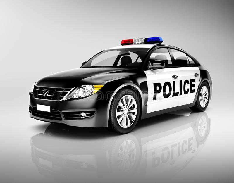 3D Police Car with Siren stock image