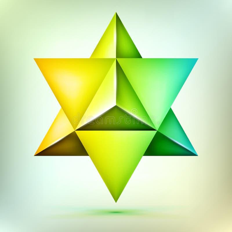 3d poliedro Merkaba, forma cristalina, sacra de bronce esotérica de la geometría, estrella de David del volumen, forma de la mall ilustración del vector