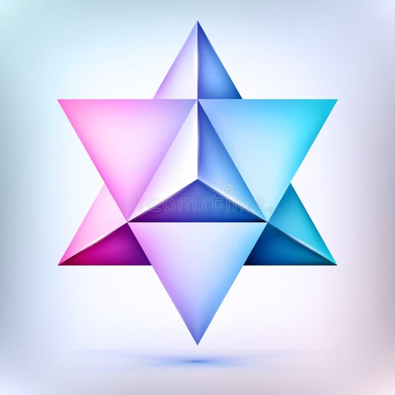 3d poliedro Merkaba, forma di cristallo e sacrale esoterica della geometria, stella di David del volume, forma della maglia, ogge illustrazione vettoriale