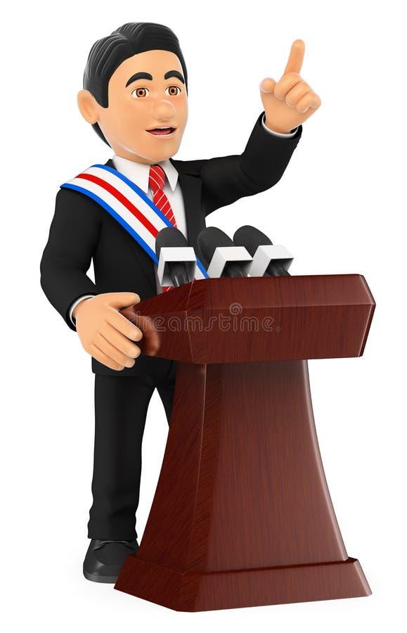 3D Politicus die een toespraak van inhuldiging geven voorzitter vector illustratie