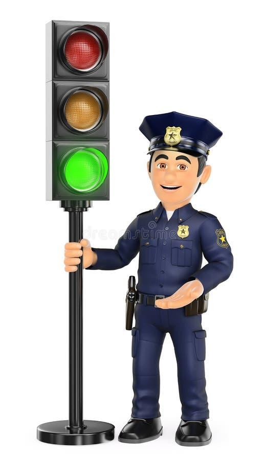 3D Politie met een verkeerslicht in groen royalty-vrije illustratie