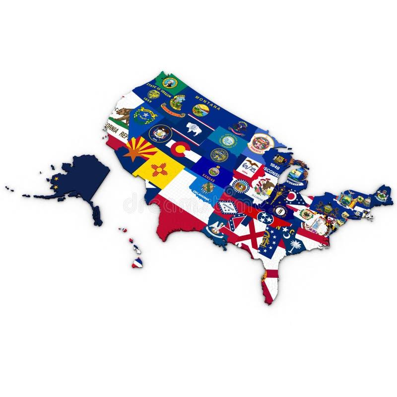 3d Polityczna mapa Stany Zjednoczone z okręgami administracyjnymi ilustracja wektor