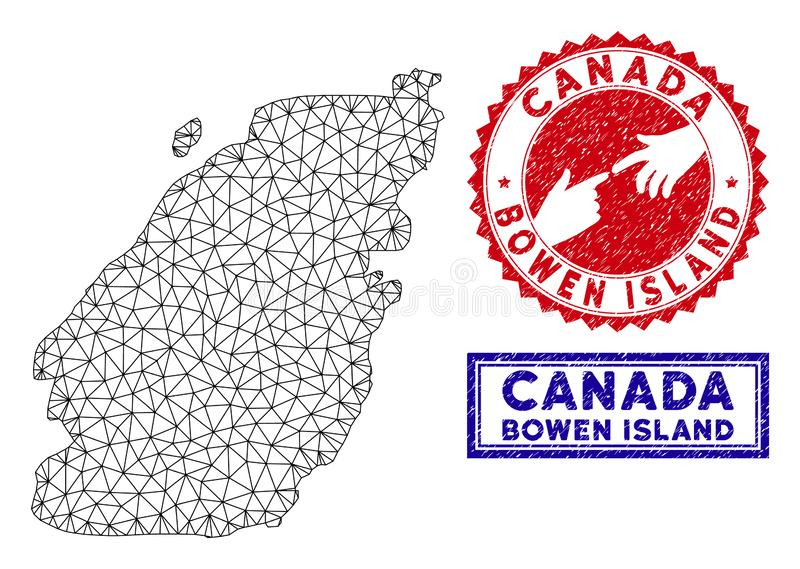 Polygonal Carcass Bowen Island Map and Grunge Stamps. 2D polygonal Bowen Island map and grunge seal stamps. Abstract lines and spheric points form Bowen Island vector illustration