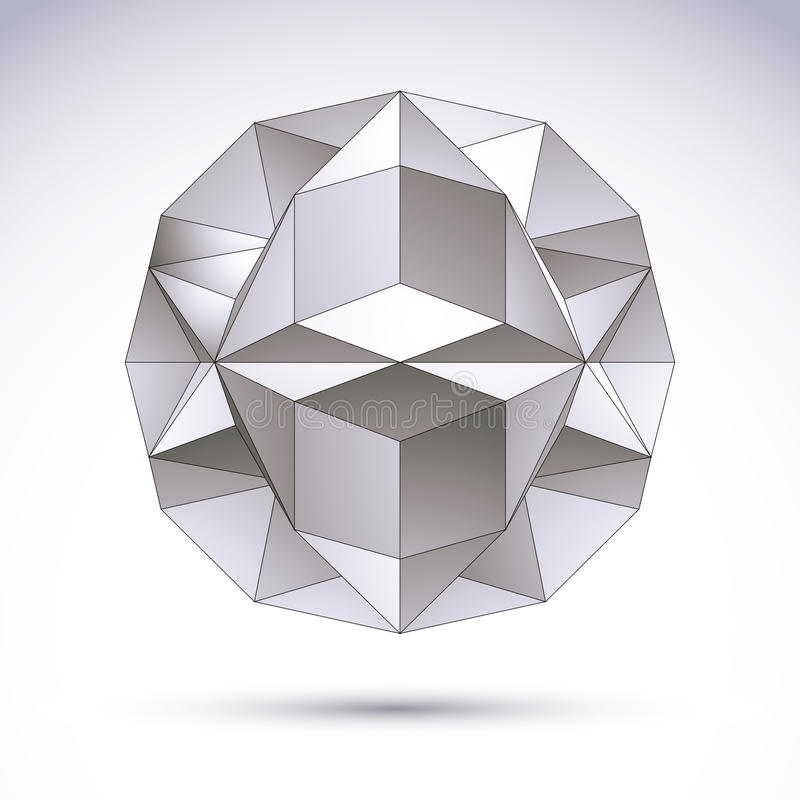3D polygonal geometriskt objekt, vektorabstrakt begreppdesign royaltyfri illustrationer
