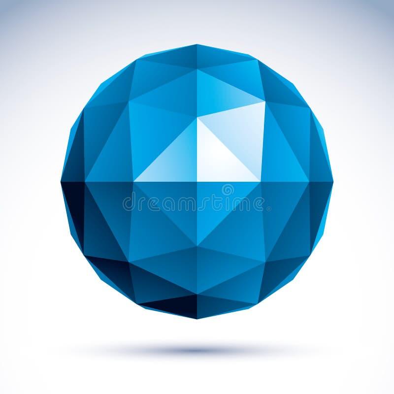 3D polygonal geometriskt objekt, vektorabstrakt begreppdesign stock illustrationer