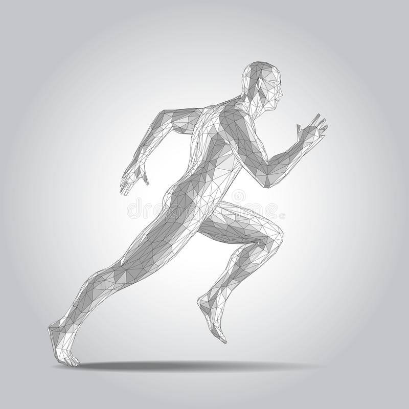 3D polygonal human body. Sprinter Running figure on white background. 3D polygonal human full body in virtual reality. Sprinter Running figure on white vector illustration