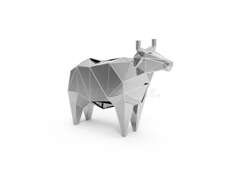 Download 3D Polygonal Illustration Of Silver Plastic Cow Stock Illustration - Image: 83702375
