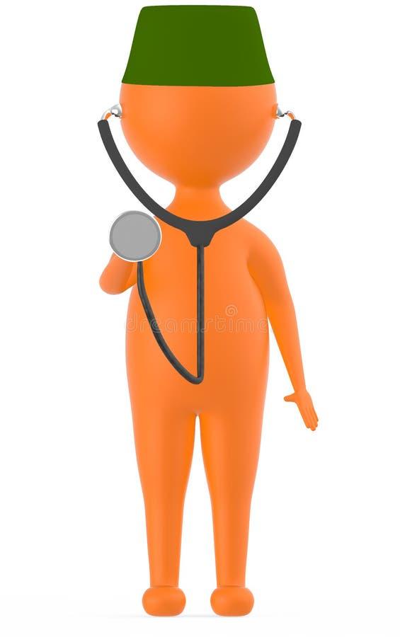 3d pomarańczowy charakter jest ubranym zieloną nakrętkę i stethescope w którym podnosi jego ręką bęben część ono ilustracja wektor